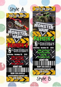 Monster Jam Monster Trucks Birthday Party Invitation Ticket Style You Print Digital File Grave Digger Grinder on Etsy, $12.99