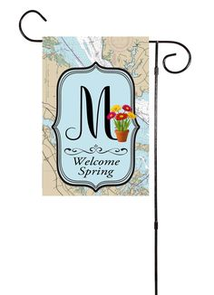 Welcome Spring - Initial Nautical Garden Flag