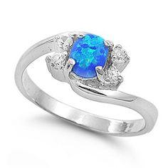 Original Star Ktm 7mm Round Created Blue Opal Engagement Ring