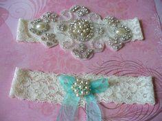 Wedding Garter/ Tiffany Blue/  Bridal Garter/ by bridalambrosia, $39.00