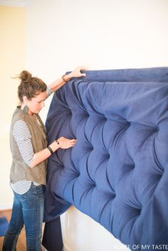how to make a tufted headboard tutorial
