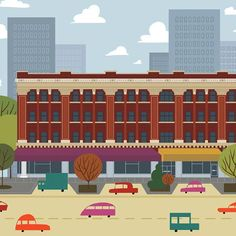 Ramsey Building - Edmonton Landmark art print, home decor  Edmonton landmark art print with a unique Mid-Century / Folk Art take. A perfect Edmonton gift idea for any city lover or that poor soul that is leaving town. Purchase on www.snowalligator.com  Illustration by local artist Jason Blower  #yeg #yegart #yegwallart #wallart #EdmontonArt #edmontongift #yeggift #snow_aligator #charmingart #cuteart #midCentury #Folkart #cuteart #charmingart #edmontonartist