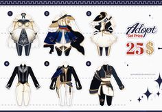 Design Batch 14 by Black-Quose on DeviantArt Fashion Design Drawings, Fashion Sketches, Galaxy Outfit, Drawing Anime Clothes, Clothing Sketches, Anime Dress, Themed Outfits, Anime Outfits, Character Outfits