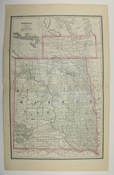 Antique South Dakota Map North Dakota Map Vintage Map 1886 Minnesota Map North Carolina Map Gift for Home Office Anniversary Gift Wedding by OldMapsandPrints on Etsy