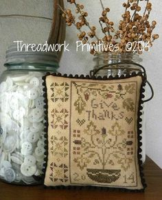 Cross Stitch pattern from Threadwork Primitives.    This counted cross stitch pattern is a design called ~Give Thanks. The pattern is for a