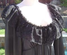 Vintage Detail: Vintage 70s Black Olga 3/4 Sleeve Nightgown