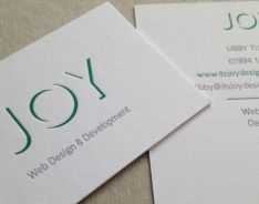 540gsm pristine white colorplan business card; foils: opaque green, grey. Please visit our website at www.ultimatebusin... for further information on our range of custom made business cards.