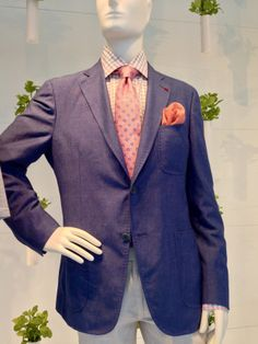 Isaia wool/linen/cotton sport coat with pink tie and pocket square