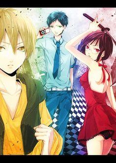 Durarara!!   Kida Masaomi, Ryuugamine Mikado, & Sonohara Anri   The Yellow Scarves, The Dollars, & Saika