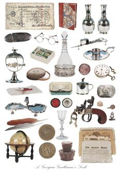 Items that might have been found on a Georgian gentleman's desk