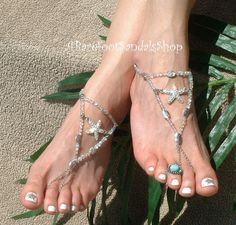 Frosted Sea Star Barefoot Sandals for Beach Wedding Starfish Barefoot Sandal Jewelry Sea Stars Barefoot Sandles Women's Ankle Foot Jewelry by ABarefootSandalsShop on Etsy #glitz #glam #sparkly #sparkle #shiny #colorful #updo #stylish #pretty #cute #sea #star #starfish #jewelry #barefoot #sandals #wedding #shoes #jewellry