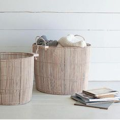 west elm | washed-wood linear baskets. These are beautifully simple.