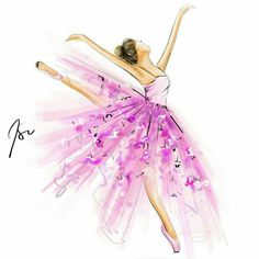 Tag a ballerina 💗 illustrated with the on the iPad Pro Ballerina Kunst, Ballerina Drawing, Ballet Drawings, Ballerina Painting, Watercolor Dress, Watercolor Fashion, Fashion Painting, Fashion Art, Ballerina Illustration