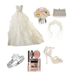 """""""Wedding dress"""" by alirosenberg ❤ liked on Polyvore featuring Diane James, Jimmy Choo, Cappellino Millinery and Charlotte Tilbury"""