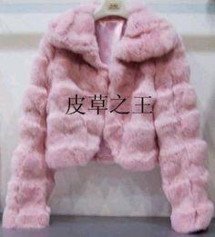 Pink fur coat.