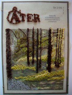Att frigöra korsstygnet  (loose cross stitch embroidery on tulle over magazine page illustration)