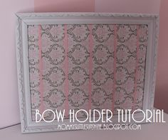 Bow holder tutorial and lots of other tutorials on this site Girl Nursery, Girl Room, Nursery Room, Nursery Ideas, Girls Bedroom, Bedroom Ideas, Baby Crafts, Crafts For Kids, Diy Hair Accessories