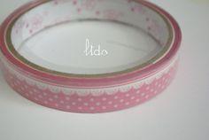 Deco Tape - Rose à pois et motif dentelle.