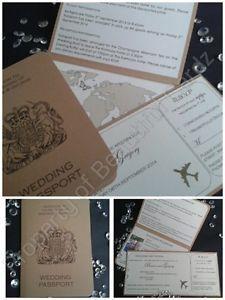 10x Personalised VINTAGE WEDDING PASSPORT INVITATIONS&BOARDING PASS INVITATIONS
