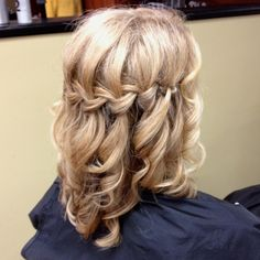 Waterfall braid with curly ringlets