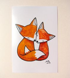 Fox Illustration Print Red Fox Couple Love Illustration by mikaart