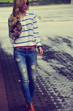 Striped shirt with holed jeans