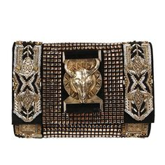 Balmain black and gold clutch handbag with fox head