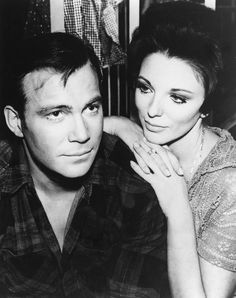 """oooooh those eyes......  William Shatner and Joan Collins making """"The City On The Edge Of Forever"""", 1967"""