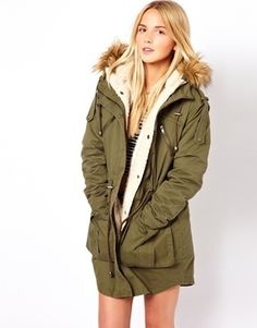 In search of: The Khaki/Army green parka // ASOS Fur Hooded Detachable Lined Parka