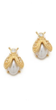 Kenneth Jay Lane Pearl Bee Earrings | SHOPBOP | Use Code: EXTRA25 for 25% Off Sale Items