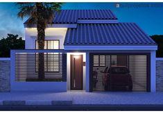 Stone House Plans, Modern House Plans, House Roof Design, Facade House, Modern Small House Design, Cool House Designs, Narrow House, Sims House, Home Design Plans
