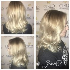 Balayage blonde icy cool finish with DIFIABA indigo