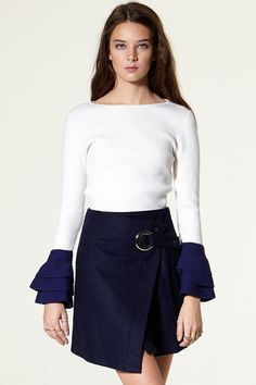 Hojea Eyelet Wrap Skirt Discover the latest fashion trends online at storets.com #Eyelet #Wrapskirt #skirt