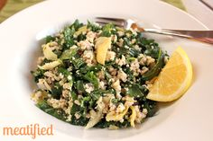 Grain Free Cous Cous Salad with Baby Kale & Artichoke Hearts from http://meatified.com #paleo #glutenfree #aip #autoimmunepaleo