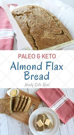 Easy Almond Flax Keto Bread Recipe that Tastes Amazing! (Paleo & GF)-- This easy paleo almond flax keto bread recipe stands on it's own with a wonderfully dynamic flavor. The crunchy crust and soft savory inside pair perfectly with a nice slab of salty bu No Bread Diet, Best Keto Bread, Paleo Bread, Low Carb Bread, Easy Keto Bread Recipe, Ketogenic Recipes, Paleo Recipes, Bread Recipes, Real Food Recipes