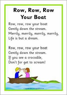 I chose this as it has a lot of repetition through out the rhyme. Row, Row, Row Your Boat song sheet - SparkleBox Rhyming Preschool, Nursery Rhymes Preschool, Rhyming Activities, Preschool Music, Therapy Activities, Nursery Rhymes For Toddlers, Free Nursery Rhymes, Nursery Rhyme Theme, Transportation Songs