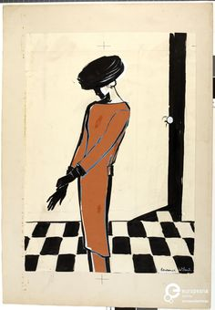 Constance Wibaut's illustration of a dress designed by Cristóbal Balenciaga, 1955. Courtesy Gemeentemuseum Den Haag via Mode Muze, all rights reserved.