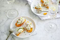 Crab Salad Sweet Potato Chip Bites and a Virtual Baby Shower Seafood Pasta Recipes, Lobster Recipes, Crab Recipes, Appetizer Recipes, Appetizers, Southern Style Potato Salad, Crab Salad, Sweet Potato Chips, Party Finger Foods