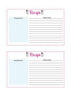 Organization - Free Printable Recipe Cards, recipe cards, recipe card printable, free printables, recipe organization, meal planning