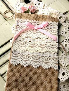 Layers of Lace Burlap Bag