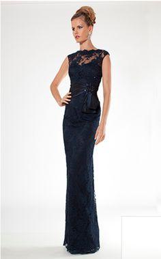 Navy Teri Jon lace evening gown  Style #27280Navy #TeriJon