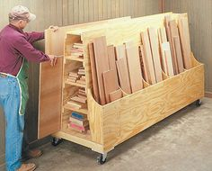 woodworking shop Roll around lumber cart plans - Workshop organization is an ongoing project so mobile and modular storage, wherever possible, will save you time down the road. Lumber Storage Rack, Plywood Storage, Lumber Rack, Tool Storage, Garage Storage, Storage Cart, 1 Plywood, Modular Storage, Pegboard Storage