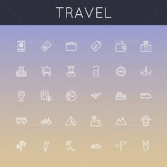 Vector Travel Line Icons — JPG Image #tourism #passport • Available here → https://graphicriver.net/item/vector-travel-line-icons/9290949?ref=pxcr