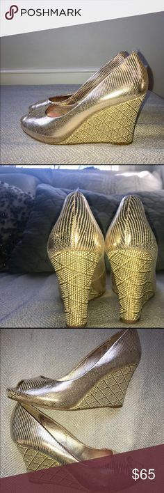 Lilly Pulitzer Metallic Peep Toe Wedges Gold metallic Peep Toe. Snake skin and weave design. Gently used Wedges (worn 2-3 times). Very comfortable heels (heel height: 3.5') Lilly Pulitzer Shoes Wedges