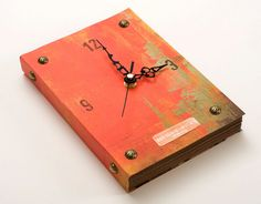 Unique Book Wall Clock Deep Red Vintage inspired, kitchen clock, wall art,  antique