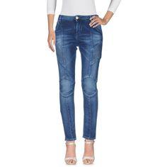 Pierre Balmain Denim Trousers (1.050 BRL) ❤ liked on Polyvore featuring pants, blue, blue trousers, straight leg pants, blue denim pants, mid rise pants and zipper pants