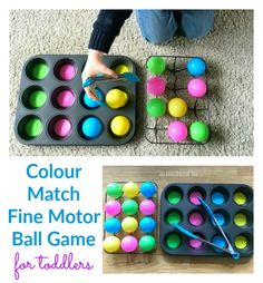 Make a simple toddler colour match fine motor game using balls and a muffin tin! So easy to set up a Color Activities For Toddlers, Childcare Activities, Nursery Activities, Toddler Learning Activities, Infant Activities, Matching Games For Toddlers, Nursery Games, Nursery Ideas, Toddler Play