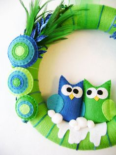 Yarn and Felt Wreath  Peacock Christmas  Owl Blue by RedMarionette, $75.00