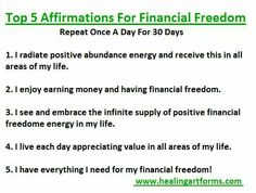 Top 5 Affirmations for Financial Freedom. Positive affirmations about money, abundance and energy.