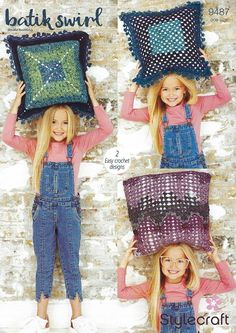 Stylecraft Batik Swirl DK Crochet Pattern 9487 - Granny Square Cushion Covers Crochet Cushions, Cushion Covers, Yarns, Color Change, Wool, Crochet Pillow, Crochet Granny, Art Yarn
